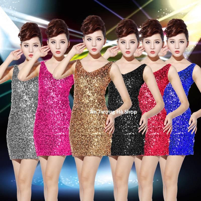 Đầm kim sa nhiều màu